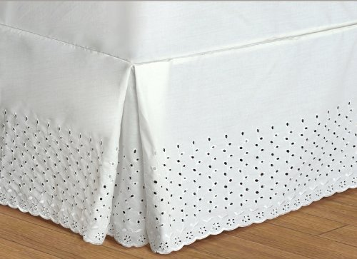 United Curtain Co. Vienna Embroidered Eyelet Bedskirt Twin – 35,6 cm Goccia – Naturale