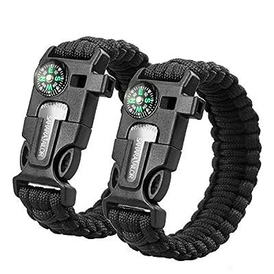 Sahara Sailor Paracord Bracelet Multifunctional Survival Kit with Compass Flint, Fire Starter, Scraper and Whistle