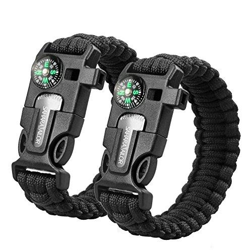 Sahara Sailor 2 Pack Paracord Bracelet Multifunctional Survival Kit with Compass, Flint Fire Starter, Scraper and Whistle for Hiking Camping Emergency More (9 Inch Black)