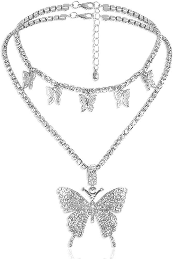 LuckyHouse Statment Big Butterfly Pendant Ch Necklace Rhinestone Outlet Al sold out. ☆ Free Shipping