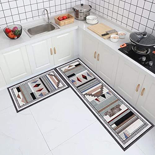 WESG Alfombrillas de Cocina Sencillas, alfombras absorbentes Antideslizantes de baño de Estilo nórdico para el hogar, Alfombrillas de Puerta de Dormitorio para Sala de Estar NO.3 40X60cm y 40X120cm