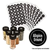 AllSpice 315 Preprinted Water Resistant Round Spice Jar Labels Set 1.5'- Fits Penzeys and AllSpice Jars- 4 styles to choose from (Modern Black)