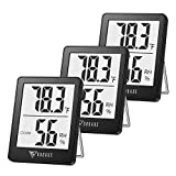 6. DOQAUS Indoor Thermometer [3 Pack], Mini Digital Hygrometer Room Thermometer, Humidity Meters, Accurate Temperature Humidity Monitor Gauge for House, Office, Greenhouse, Home Black (2.3X1.8inch)