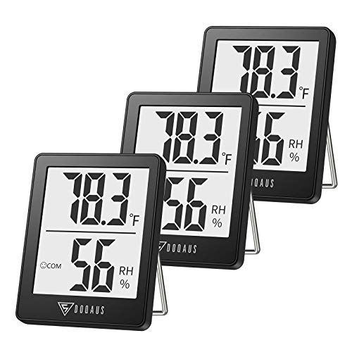 DOQAUS Indoor Thermometer [3 Pack], Mini Digital Hygrometer Room Thermometer, Humidity Meters, Accurate Temperature Humidity Monitor Gauge for House, Office, Greenhouse, Home Black (2.3X1.8inch)