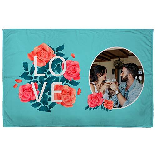 Manta Personalizada con Foto. Regalos San Valentin Personalizados. 95X140. Varios Diseños. Mantas Personalizadas por 1 Cara. Manta Suave Love