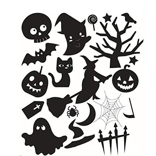 Halloween muursticker muursticker grote muursticker zwart venster sticker pompoen spookachtige begraafplaats kasteel spin kat geest kandelaar heks en vleermuis graf halloween partij decoratie halloween afneembaar
