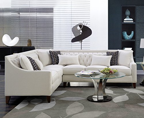 Iconic Home Chic Home Aberdeen Linen Tufted Down Mix Modern Contemporary Left Facing Sectional Sofa, Cream, Beige