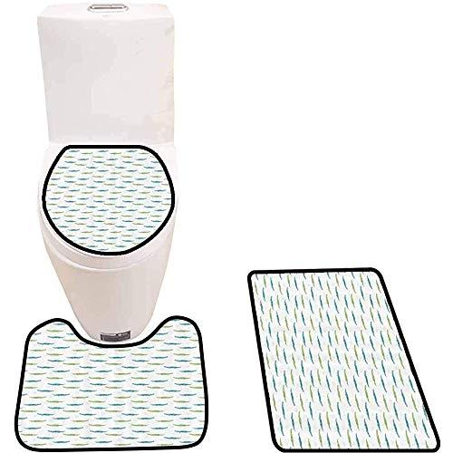 WEURIGEF Alfombrilla de baño de 3 piezas Con Estampado de cocodrilos de acuarela Alfombra de baño Alfombra de contorno y tapa