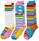 Jefferies Socks Girls' Little Colorful Rainbow Knee High Socks 3 Pair Pack, Small