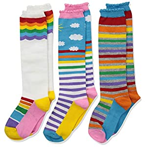 Jefferies Socks Girls' Little Colorful Rainbow Knee High Socks 3 Pair Pack