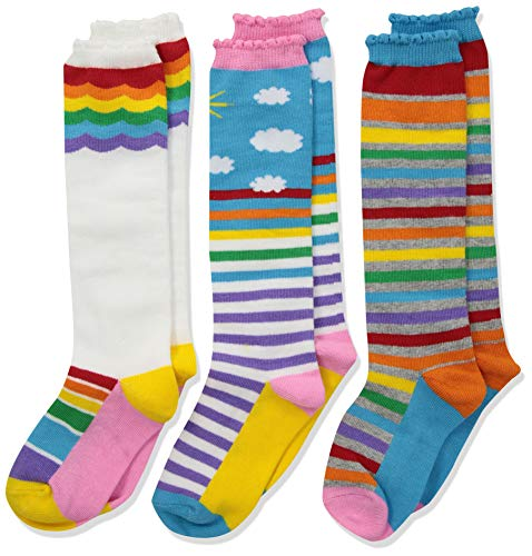 Jefferies Socks Mädchen Colorful Rainbow Knee High 3 Pair Pack Socken, Regenbogenfarben, Small