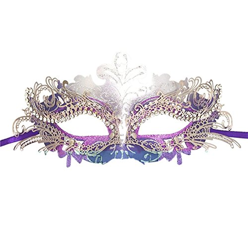 Fellibay Girls Masquerade Mask Venetian Filigree Mask Laser Cut Metal Masquerade for Halloween Costume Party (Purple)