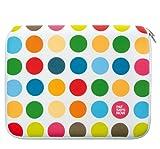 PSN Netbook Sleeve Polkadot 20,3-27,9cm 8-11Zoll Swiss Design Laptop Schutz aus Neopren Weiss/bunt gepunktet