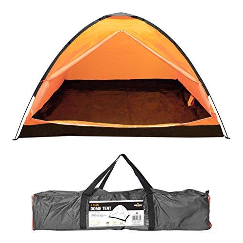 Milestone - Tenda a Cupola da Campeggio per Quattro Persone, Colore Arancione