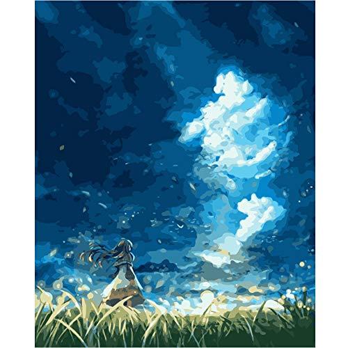 Starry Sky Girl-Paint by Number Kits para adultos, pintura acrílica, imagen de arte de pared, pintura de números en lienzo 40x50cm A