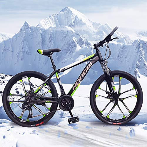 General Packaging 26-inch 21-Speed Men's Mountain Bike, High-Carbon Steel Hard-Tail Mountain Bike, Mountain Bike With Full Suspension Adjustable Seat (Green)