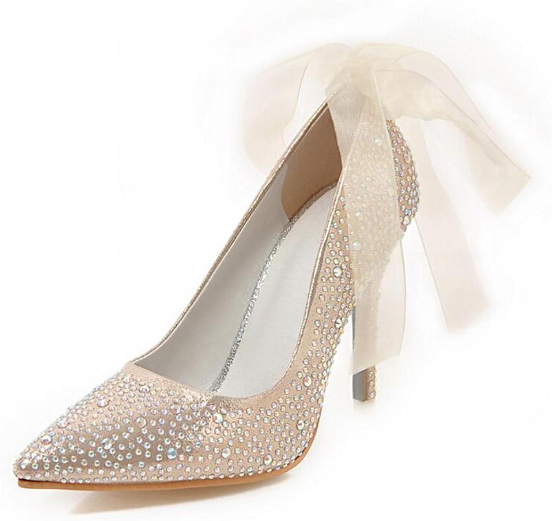 XUERUI Ms High Heels Stilettos Bridal shoes Elegant Sexy Beautiful Fashion 10cm Heel (color   gold, Size   EU36 UK3.5 CN35)