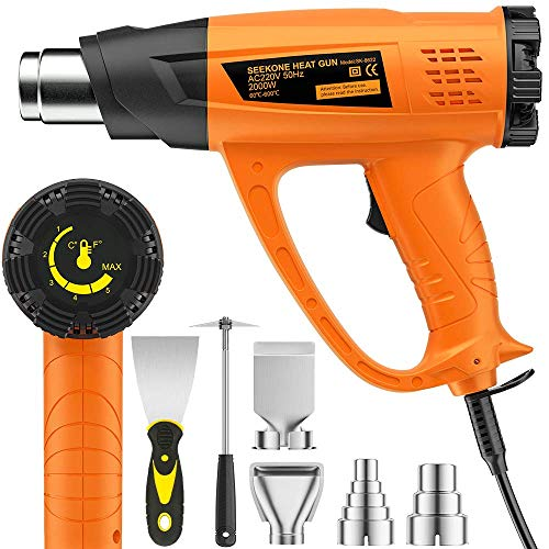 2000W Heat Gun, SEEKONE Hot Air Gun Kit Variable Temperature 60℃- 600℃ with...