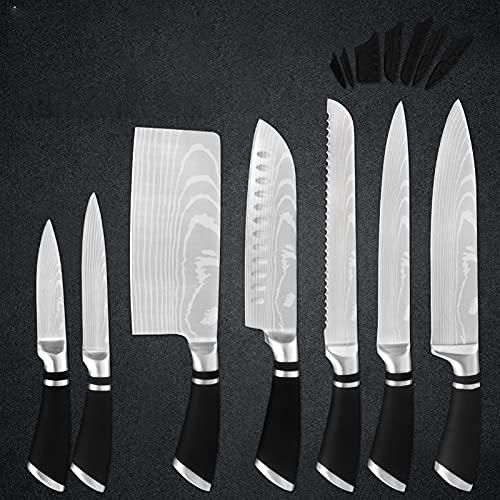 Establecer Cuchillo Cuchillos de Acero Inoxidable Cuchillos Profesional Conjunto Completo 3.5 '' 5 '' 6 '' 7 '' 8 '' Picando el Cuchillo de Utilidad de Pesca (Color : C 7PCS Set)