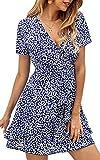ECOWISH Women's V Neck Polka Dot Ruffles Mini Sexy Dress Short Sleeve Wrap Summer Dresses with Belt Blue Large
