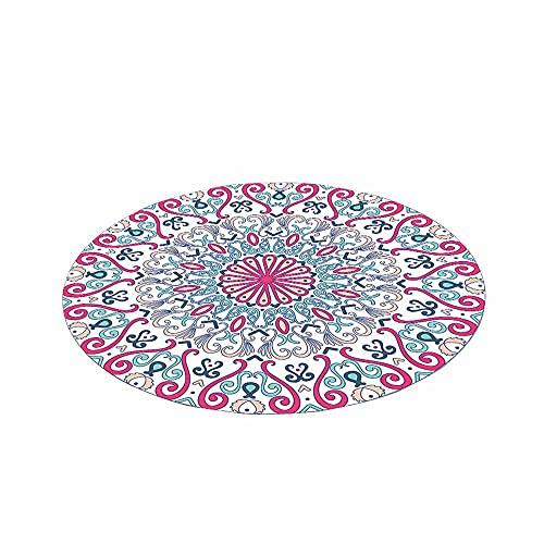 Tapete Redondo Felpudos Alfombra, Morbuy Alfombras Piso Moqueta Dormitorio Sala de Estar Juego Mats Pad para Habitación Decorativo - Impresión de Mandala Bohemia (Rosa roja,100cm)