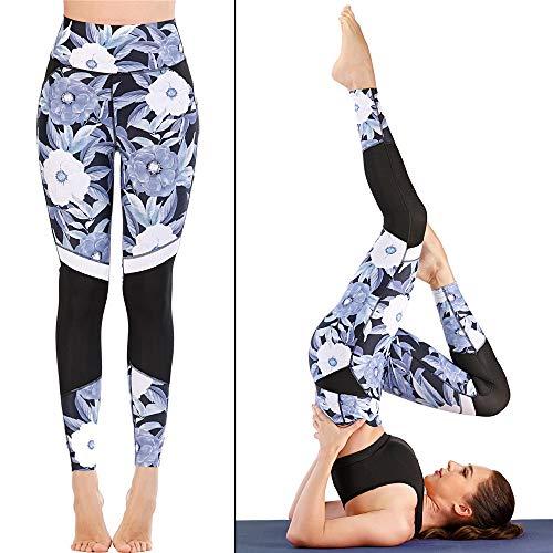 QinWenYan Pantalones de Yoga Los Pantalones de Yoga Yoga Impresos for Las Mujeres el Control de la Panza Panza Polainas Pantalones Running Entrenamiento para Fitness (Color : Black, Size : XL)