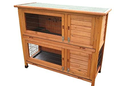 BUNNY BUSINESS Double Decker Rabbit/ Guinea Pig Hutch Sliding Plastic Trays with Deluxe Hutch Cover, 48-inch from M.D.C Imports Uk