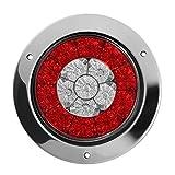 Accesorios Byolpmkk-Jiajia 2pcs 4 pulgadas Ronda del remolque del camión trasera LED luces de parada de freno rojas y ámbar Encienda las luces de señales estacionamiento for camiones, autocaravanas, r