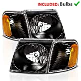 AmeriLite for 2001-2005 Ford Explorer Sport/Sport Trac Crystal Black Replacement Headlights w/Corner Lamp Aseembly Pair - Passenger and Driver Side