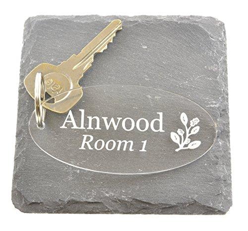 Llavero personalizable original – acrílico transparente, ovalado, grabado, ideal para casas de huéspedes y hoteles