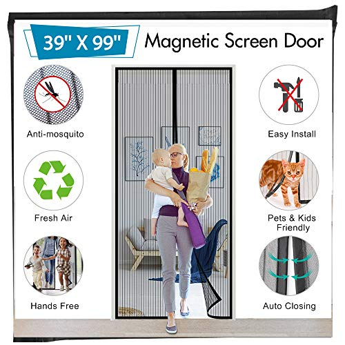 Magnetic Screen Door 39' x 99', Mkicesky Mosquito Door Net with Full Frame Hook&Loop, Hands-Free, Pets and Kids Friendly to Keep Bugs Out for Sliding Glass Door, Front/Back/Entry/Garage Doors