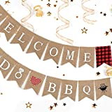 2 Pcs Burlap Welcome I DO BBQ Sign Banners...