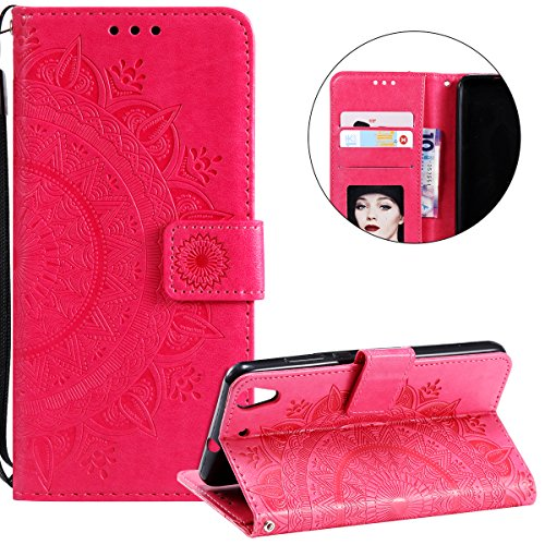 Surakey Compatible avec Coque Huawei Y6 II Housse en Cuir PU Leather Etui Portefeuille à Rabat Mandala Fleur Motif Clapet Support Fermeture Flip Wallet Case pour Huawei Y6 II,Fleur Rouge