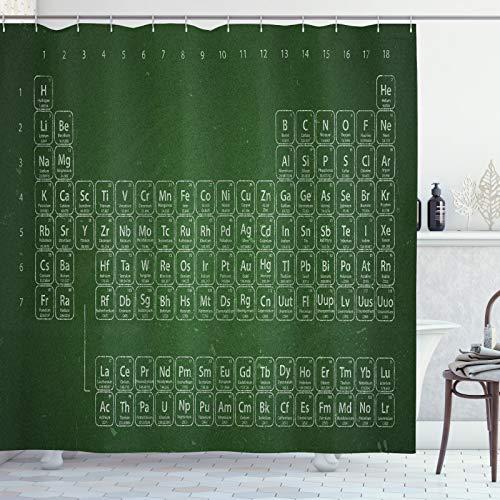 ABAKUHAUS Chemistry Elements Douchegordijn, Periodiek systeem, stoffen badkamerdecoratieset met haakjes, 175 x 200 cm, Emerald en lichtgroen