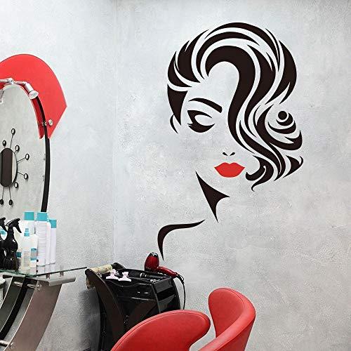 92x56cm Pegatinas de pared para baños, peluquería grande Labios Peinado Cabello Peinado Barberos Señora Ventana Tienda Obra de arte Dormitorio para calcomanía Decoración de póster Oficina