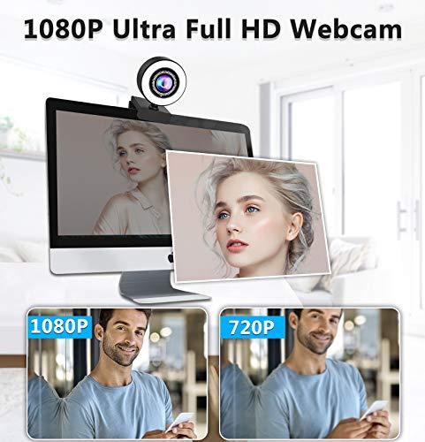 Webcam mit Mikrofon und Ringlicht-OVIFM 1080P Full HD Web Cam für PC, Laptop, Mac, USB Webcam Streaming mit Autofokus und Weitwinkel für YouTube, Skype Videoanrufe, Lernen, Videokonferenz, Spielen
