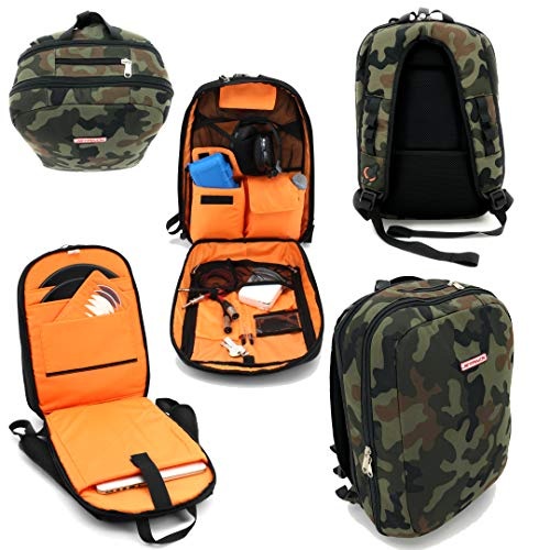 JetPack Slim Backpack for DVS, Mobile, or Club DJ Gig Set, Bag Carry Laptop, Stand, Tablet, Headphone, Vinyl Records, USB Mobile Devices, Needle Case, Cables, Microphone & More. TSA Compliant (Camo)