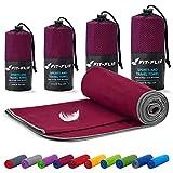 Fit-Flip Mikrofaser Handtuch Set – 18 Farben, viele Größen – Ultra leicht & kompakt – das perfekte Sporthandtuch, Strandhandtuch und Reisehandtuch (100x200cm, Weinrot - Grau)