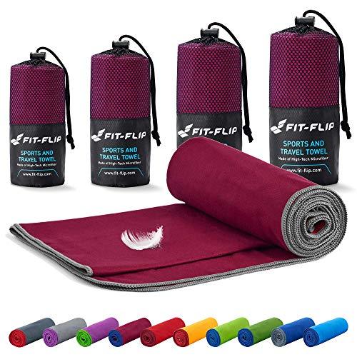 Fit-Flip Toalla Microfibra – 18 Colores, Muchos tamaños – Ultraligera y compacta – Toalla Secado rapido – Toalla Playa Microfibra y Toalla Deporte Gimnasio (70x140cm borgoña - Borde Gris)