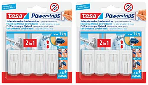 tesa Powerstrips Vario-Gardinenhaken/Selbstklebende Gardinenhaken ablösbar und mehrfach verwendbar/Bis 1 kg Belastung (2)