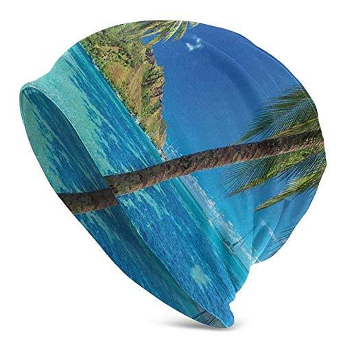 AEMAPE Imagen de una Isla Tropical con Palmeras y mar Claro Playa Naturaleza Tema Estampado Beanie Cap Gorro de Punto Gorro de Calavera Pullover Cap
