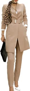 Women's 2 Piece Business Mid Long Blazer and Pants Suit Set with Belt