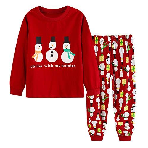 De feuilles Kinder Schlafanzug Weihnachten Santa Aufdruck Mädchen Jungen Sweatshirt Hose Bekleidungsset Langarm Cartoon Spielanzug Overall 2 PCS (110 cm, 33)