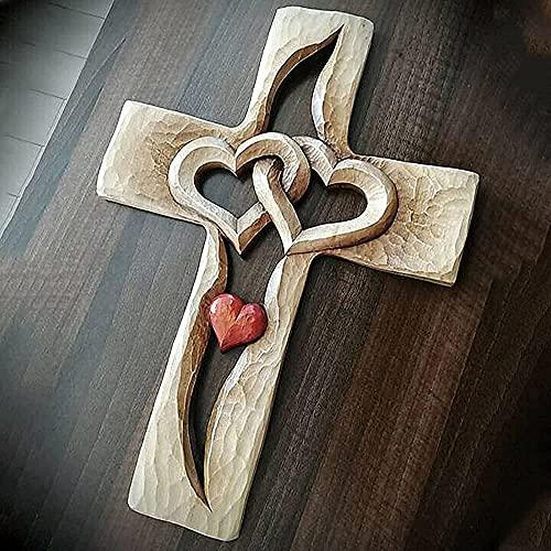 Swhcvj Gesneden houten kruis verweven harten, Muur Opknoping Houten Kruis Hand Gesneden Antiek Ontwerp, Liefde God Houten Muur Kruis voor Thuis Woonkamer Decor