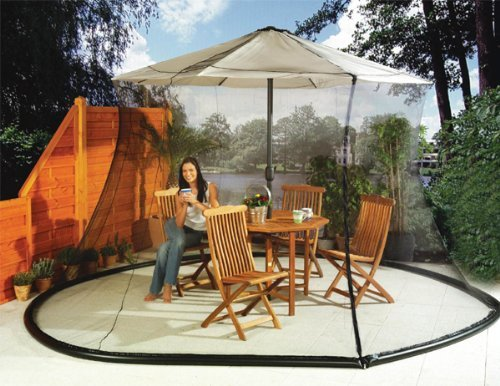 Unique Imports Umbrella Mosquito Net Canopy Patio Table Set Screen House - Large Premium Netting