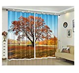 SHANGZHIQIN 3D Curtains Bedding Room Living Room,Big Tree on a Field Lawn