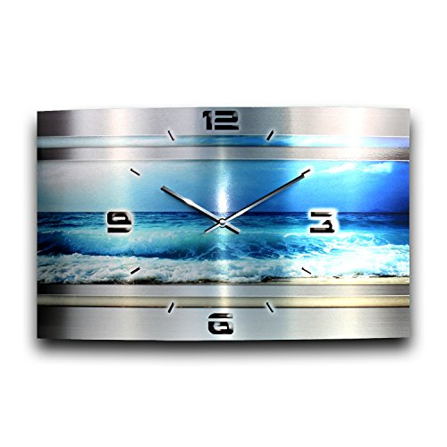 Kreative Feder Blue Ocean Metallic Designer Funk Wanduhr Funkuhr modernes Design * Made in Germany* WAG318FL * leise kein Ticken