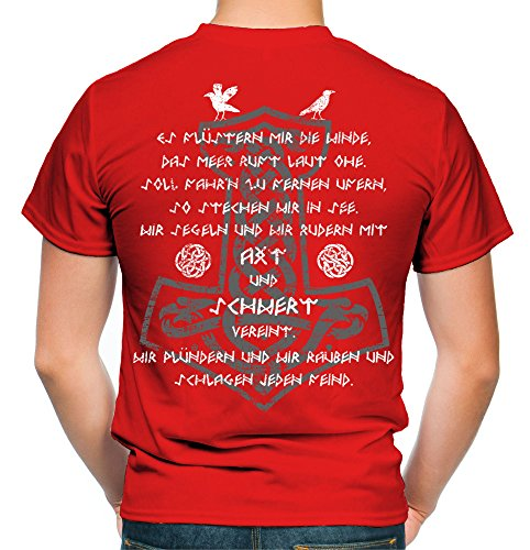 Axt & Schwert Männer und Herren T-Shirt | Vikings Wikinger Ragnar ||| FB (XL, Rot)