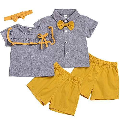Geschwister Sommer Kleidung Set, passende Jungen und Mädchen Kurzarm T-Shirt Tops + Shorts Kleidung Set, Jungs, 70/3-6M