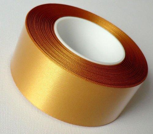 SCHLEIFENBAND 25m x 40mm Satin GOLD Geschenkband DEKOBAND Satinband GOLDBAND